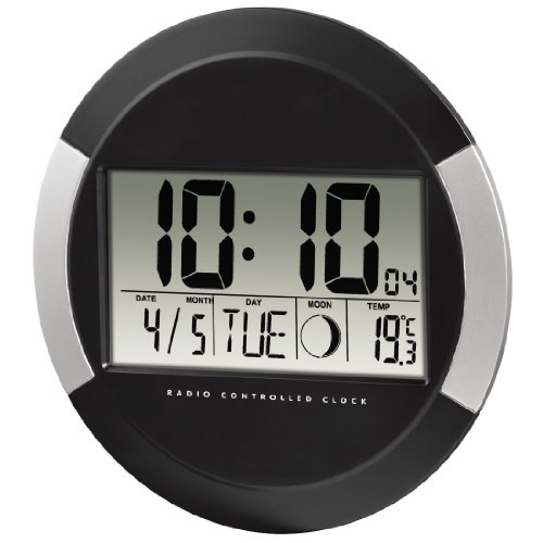 itronics digitale funkwanduhr tischuhr mit temperaturanzeige countdown timer schwarz aotmac. Black Bedroom Furniture Sets. Home Design Ideas
